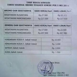 Harga Tiket Masuk Bromo Tengger Semeru Week Day Week End